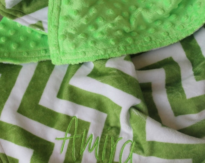 Personalized Embroidered Minky Chevron Crib Nursing Baby Cuddle Soft and Comfy 28x35 Baby Toddler Kids Blanket Jade Chevron/Lime Green Shown