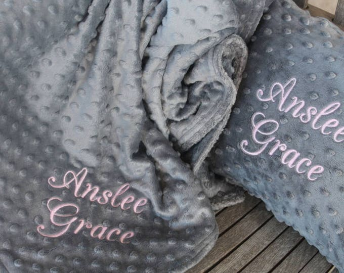 Soft Minky Chenille Personalized 28x35 Baby/Toddler Blanket 10x12 Toddler Pillow Set in Your Color Choice Mix and Match Colors Available