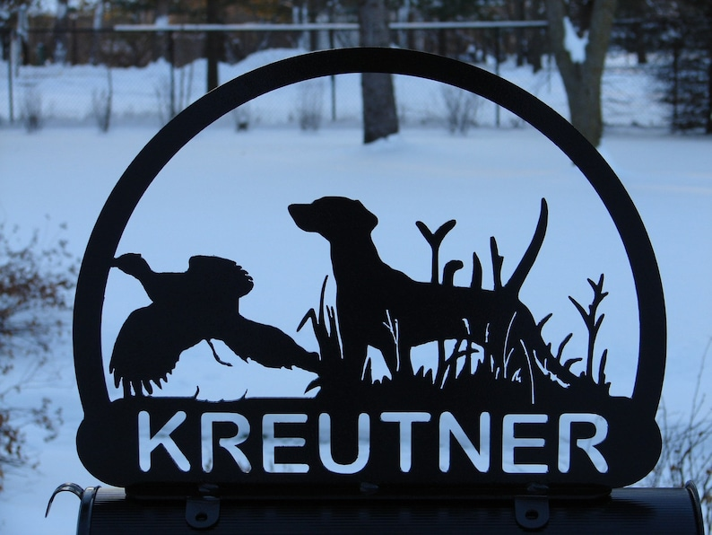 STEEL BLACK POWDER COAT FINISH CUSTOM BIRD DOG MAILBOX TOPPER YOUR  NAME