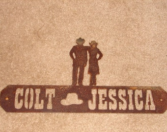 Western WALL PLAQUE Cowboy Sign Personalized Home Decor Cowgirl Welcome
