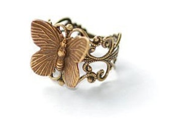 Baby Butterfly Antiqued Brass Ring
