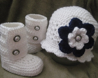 0-3 or 3-6 Months - Flapper Hat and Matching Baby Boots