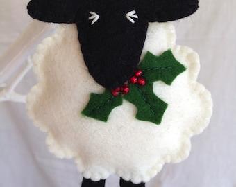 Christmas Decorations - Wool Felt Sheep - Holly - Decoration - Festive - Merry Christmas - Yule