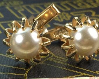 SWANK Brand Men's Vintage Cufflinks Antique Gold Plated Brass Steampunk Cufflinks Men's Pearl Cufflinks