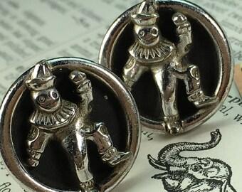 Men's Vintage Cufflinks Steampunk Circus Clown Cufflinks Silver Plated Men's Cufflinks ANSON Brand 1950's Antique Cufflinks