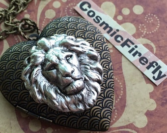 Big Brass Lion Heart Necklace Silver Lion Head Locket Necklace Antiqued Brass Locket Heart Locket Leo Lion Jewelry Women's Locket Victorian