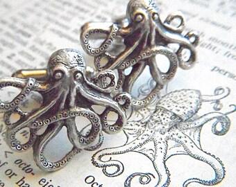 Men's Cufflinks Silver Octopus Cufflinks Silver Cufflinks By Cosmic Firefly Popular Men's Gifts Men's Accessories