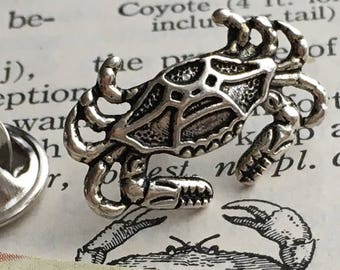 Crab Tie Tack Silver Plated Tiny Size Nautical Sea Life By Cosmic Firefly Popular Men's Accessories & Gifts