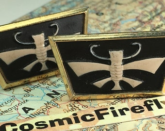 Men's Vintage Cufflinks Stylized Bee Cufflinks Antiqued Gold Tone Plated Men's Cufflinks Antique Cufflinks Insect Bug Wasp ANSON Cufflinks