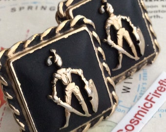 Mid Century Vintage Cufflinks Antique Shield of Armour Excalibur Sword Medieval Knights Game Thrones Cufflinks