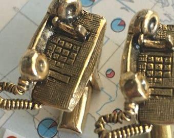 Vintage Cufflinks Telephone Cufflinks Antique Gold Tone Plated Cufflinks Antique Cufflinks Men's Vintage Jewelry Steampunk Cufflinks