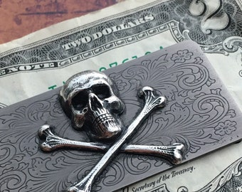 Skull Money Clip Gothic Victorian Pirate Skull And Crossbones Vintage Inspired Steampunk Prop Metal Wallet