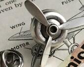 Spinning Propeller Tie Tack Pin Clasp Steampunk Pin Silver Propeller Men 39 s Tie Tack MADE In USA