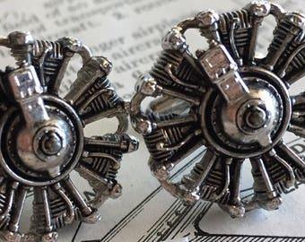 Men's Vintage Cufflinks Airplane Engine Cufflinks Steampunk Cufflinks Men's Cufflinks Antique Cufflinks HICKOK Brand Cufflinks