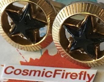 Vintage Star Cufflinks Steampunk Celestial Mid-Century Modernist Wild West Sheriff's Badge