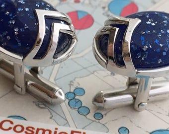 Men's Vintage Cufflinks Blue Glitter Cufflinks Silver Abstract Men's Cufflinks SWANK Brand Antique Cufflinks Industrial Cufflinks Chrome