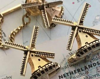 Men's Vintage Cufflinks Windmill Cufflinks Made In USA Vintage HICKOK Brand Steampunk Cufflinks 1950's Mid Century Vintage