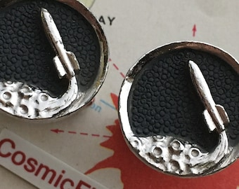 Vintage Space Rocket To The Moon Cufflinks Atomic Jet Age Rare Mid Century Celestial Planet