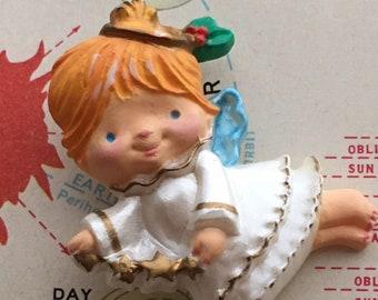 1980's Vintage Hallmark Christmas Angel Pin Brooch Girl's Holiday Jewelry