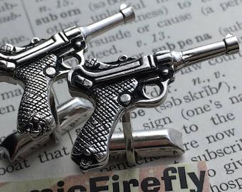 Men's Vintage Cufflinks Silver Gun Cufflinks Luger Pistol Made In USA SWANK Brand Cufflinks Steampunk Cufflinks Spy Gun