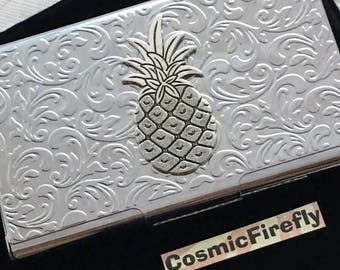 Victorian Pineapple Card Case Silver Pineapple Business Card Case Silver Pineapple Card Case Card Holder Floral Card Case Card Wallet