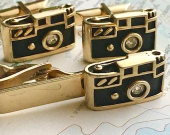 Men's Vintage Cufflinks Antique Camera Cufflinks Made In USA Vintage SWANK Brand Cufflinks Steampunk Cufflinks Camera Tie Bar