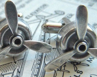 Men's Steampunk Propeller Cufflinks Antiqued Silver Plated Spinning Cuff Links Made In USA Men's Gifts Dads Father's Day FREE Gift Box