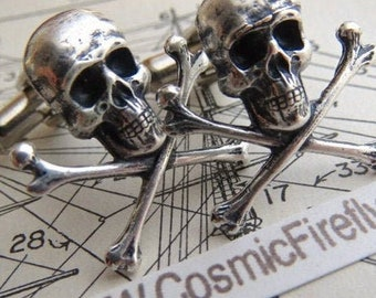 Small Skull Cufflinks Gothic Victorian Steampunk Pirate Cufflinks Skull and Crossbones Antiqued Silver Plated Metal