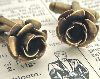 Brass Rose Cufflinks Gothic Victorian Steampunk Antiqued Brass Metal Flowers Classy Small Size Vintage Inspired Men's Accessories Tiny Rose