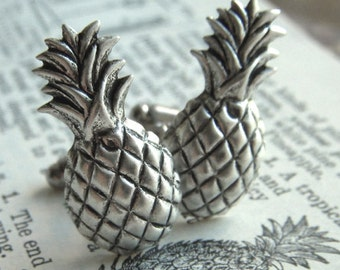 Silver Pineapple Cufflinks Gothic Victorian Art Deco Tiki Men's Cuff Links & Accessories Vintage Inspired Rustic Finish