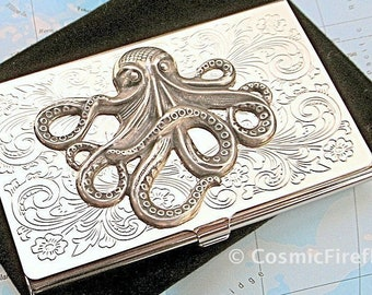 Silver Octopus Card Case Business Card Case Silver Card Case Gothic Victorian Card Case Steampunk Card Case By Cosmic Firefly