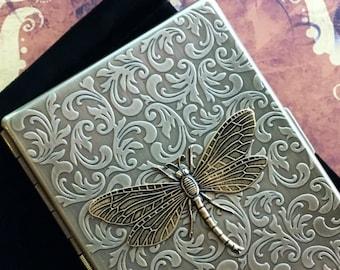 Brass Dragonfly Cigarette Case Vintage Style Gothic Victorian Cigarette Case Floral Pattern Art Nouveau Steampunk Card Case Brass Dragonfly
