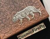 Tiger Cigarette Case Antiqued Copper Case Gothic Victorian Art Nouveau Style Vintage Style Silver Tiger Slim Copper Steampunk Case