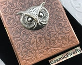 Owl Cigarette Case Rustic Antiqued Copper Case Gothic Victorian Art Nouveau Style Vintage Inspired Copper Steampunk Case Silver Owl Head
