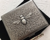 Big Antiqued Silver Bee Large Size Cigarette Case Extra Big Antiqued Silver Tone Metal Wallet Gothic Victorian Steampunk Big Bee Case