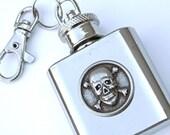 SALE Miniature Flask KEYCHAIN Skull & Crossbones 1 OZ Small Flask Purse Flask Steampunk Flask Pirate Flask Cosplay Flask Prop Flask New