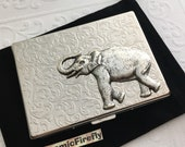 Metal Cigarette Case Elephant Vintage Style Silver Plated Metal Fits Oversized Business Cards