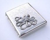 Chrome Silver Octopus Cigarette Case Steampunk Cigarette Case Extra Large Silver Plated Metal Wallet Nautical Victorian Cigarette Case