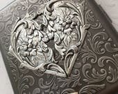 Large Size Antiqued Silver Cigarette Case Extra Big Metal Wallet Gothic Victorian Heart Steampunk Case Antiqued Silver Heart Case