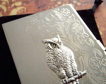Owl business card etsy owl business card case victorian owl silver plated slim fancy vintage inspired scroll pattern popular classic slim card holder colourmoves
