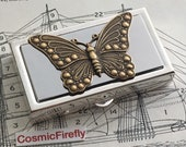 Butterfly Pill Box Small Size Silver Tone Metal Pill Case Victorian Inspired Brass Butterfly