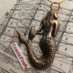Brass Mermaid Christmas Ornament Antiqued Brass Rustic Gothic Victorian Steampunk Sea From Cosmic Firefly
