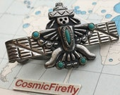 Novelty Kachina Doll Antique Silver Plated Vintage Tie Bar Clip Turquoise Color Accents Costume Jewelry