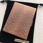 Slim Cigarette Case Big Antiqued Copper Color Plated Metal Case Gothic Victorian Art Nouveau Vintage Inspired Smoking Case Big Card Holder