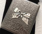 Large Size Antiqued Silver Cigarette Case Extra Big Metal Wallet Gothic Victorian Bow Steampunk Case Antiqued Silver Ribbon Case
