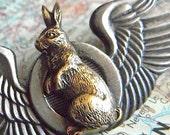 Steampunk Pin Brooch Flying Rabbit Wings Mixed Metals Cosplay Pin Flying Wings Pin