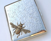 Bee Cigarette Case Vintage Reproduction Gothic Victorian Steampunk Large Size Mixed Metals Brass Silver Antique Floral Design