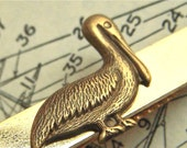 Pelican Tie Clip Nautical Victorian Steampunk Style Vintage Inspired Gold Brass Mixed Metals Handcrafted Tie Bar