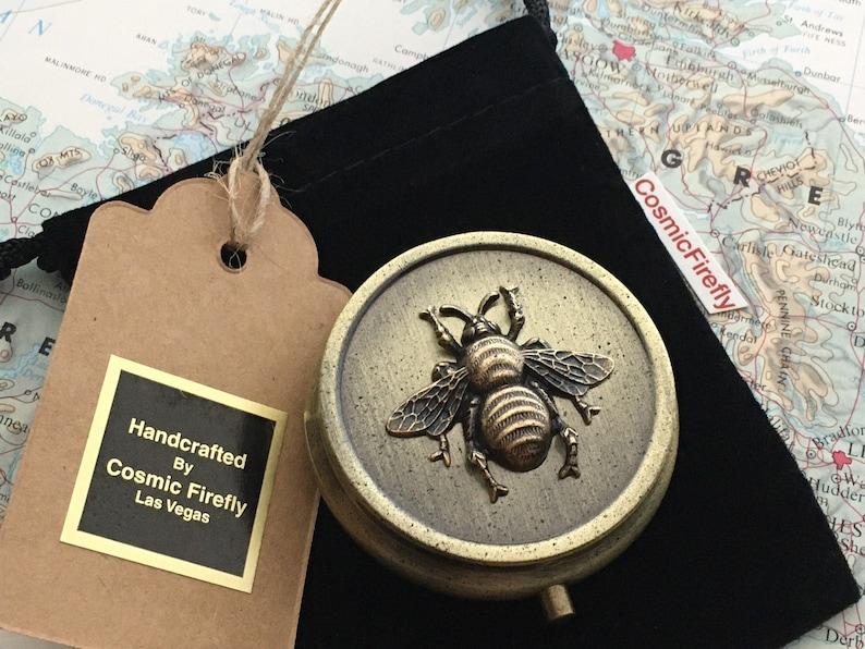 Small Lightweight Round Brass Honey Bee Pill Box Pill Case image 1