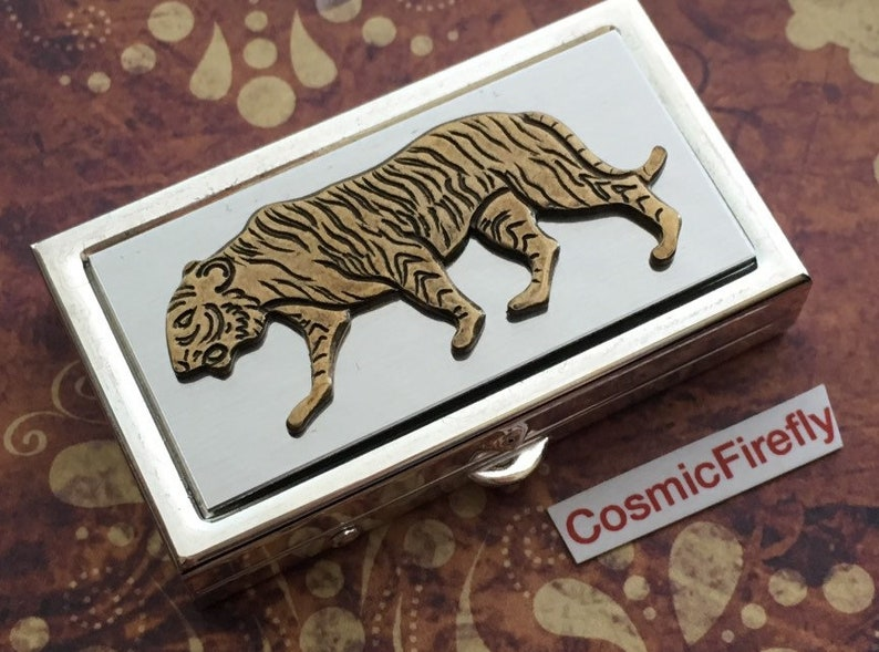 Small Lucky Tiger Pill Case Tiny Silver Plated Pill Case Fits image 0
